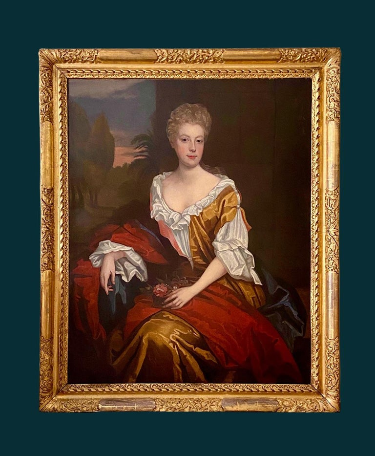 LATE 17TH CENTURY ENGLISH PORTRAIT - A LADY  IN A RED / YELLOW SILK DRESS c.1700 - English School Painting by Follower of Willian Wissing