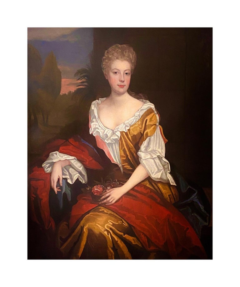 LATE 17TH CENTURY ENGLISH PORTRAIT - A LADY  IN A RED / YELLOW SILK DRESS c.1700 For Sale 1