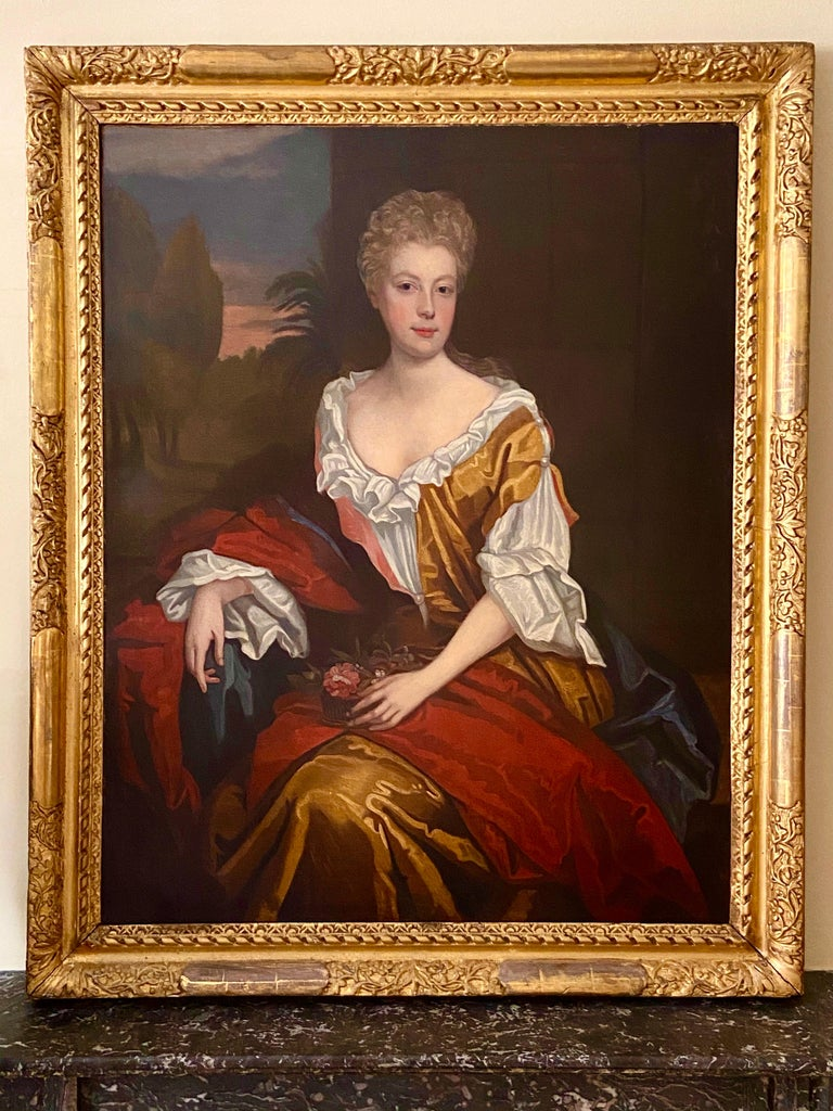 LATE 17TH CENTURY ENGLISH PORTRAIT - A LADY  IN A RED / YELLOW SILK DRESS c.1700 For Sale 2
