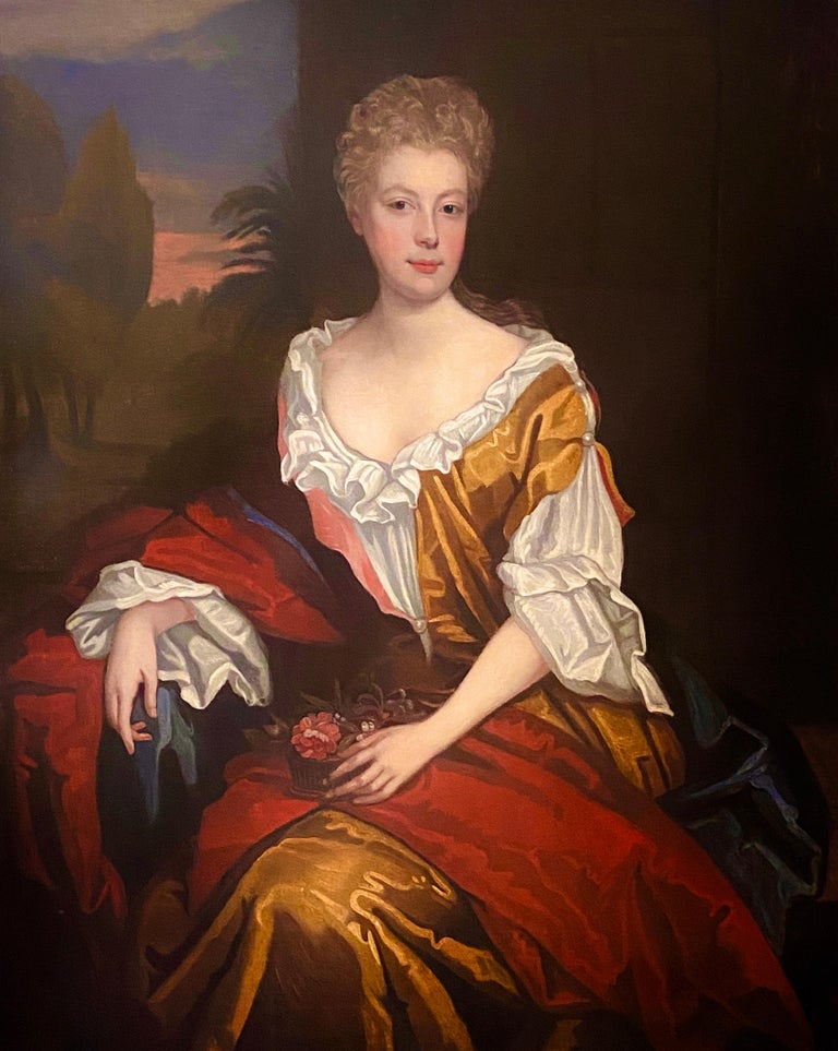 LATE 17TH CENTURY ENGLISH PORTRAIT - A LADY  IN A RED / YELLOW SILK DRESS c.1700 - Painting by Follower of Willian Wissing