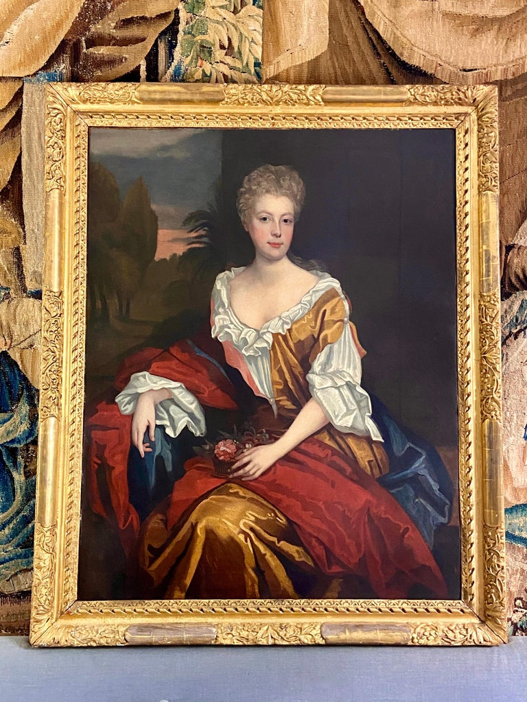 LATE 17TH CENTURY ENGLISH PORTRAIT - A LADY  IN A RED / YELLOW SILK DRESS c.1700 For Sale 4