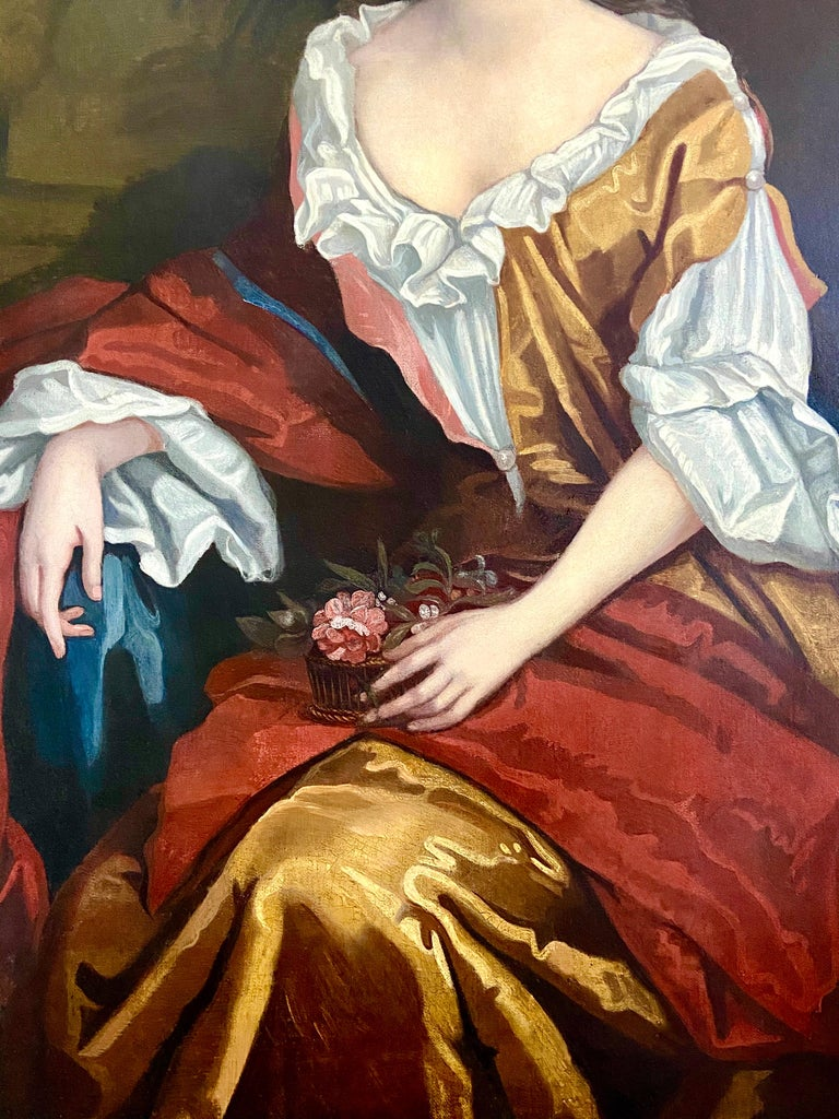 LATE 17TH CENTURY ENGLISH PORTRAIT - A LADY  IN A RED / YELLOW SILK DRESS c.1700 - Brown Portrait Painting by Follower of Willian Wissing
