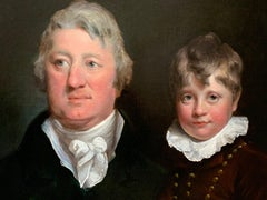 Early 19th Century English Oil Portrait Painting of a Gentleman and a Young Boy.