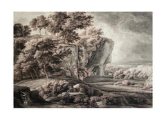 18th Century Classical Old Master Roman Landscape Drawing with Figures