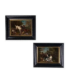 A Fine Pair of 17th Century Oil Portraits of Hunting Hounds or Dogs