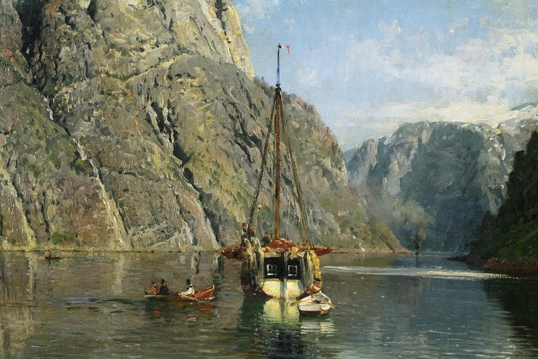 Svams-Nosc in Navo Fjord - Naturalistic Painting by Anders Askevold