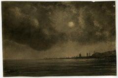 Untitled - Atmospheric seascape night scene along the Dutch North Sea coast.