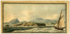 Untitled - View of a rocky coast with a lighthouse.