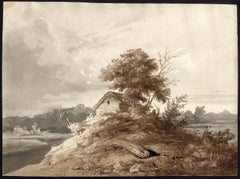 Untitled - Landscape with cabin and trees.