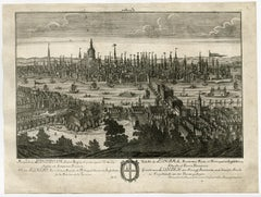 View of London with Thames and St. Paul's cathedral by Haffner - 18th Century