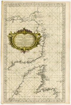 Sea chart of Gulf of Saint Laurence and Belle Isle - Engraving - 18th century