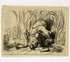 A monk and woman in cornfield by Dominique Vivant Denon - Etching - 18th Century