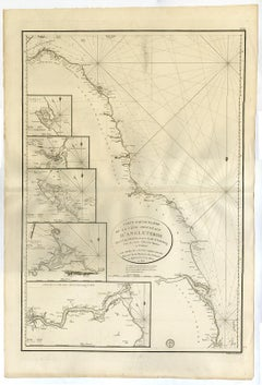 Sea chart of  west coast of England - Cape Gibraltar - Engraving - 19th century