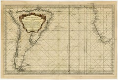 Sea chart of the Southern Atlantic Ocean - Engraving - 18th century