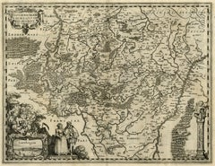 Antique map of Luxembourg and its region by Kaerius - Engraving - 17th c.