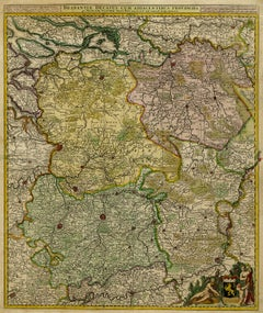 Antique map of Duchy of Brabant by Visscher - Handcoloured engraving - 17th c.