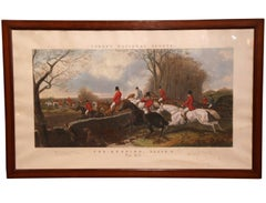 "Large 19th Century English Framed Watercolor Fox Hunt Scene ""The Hill"" 1852"