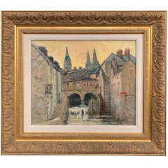 "French Oil on Canvas in Gilt Frame ""Le Vieux Moulin, Bayeux"" Signed Vincent"
