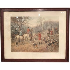 """19th Century English Framed Hand Painted Watercolor Hunt Scene """"The Brush"""""""