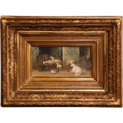 19th Century Sheep Painting in Carved Gilt Wood Frame Signed J. Scholaerts