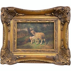 19th Century English Sheep Painting on Board in Gilt Frame Signed E. Buhm