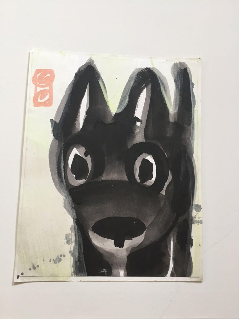 Tammi Smith Animal Art - Black Puppy with Glo Paint