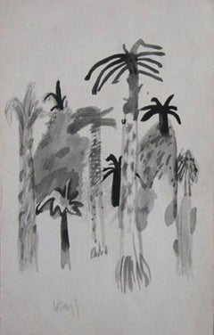 "Palm Tree, Watercolor Drawing, Padma Vibhushan, Padma Bhushan Awardee ""In Stock"""
