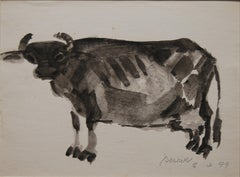 "Indian Cow, Watercolor & Ink, Black by Padma Bhushan Awardee ""In Stock"""