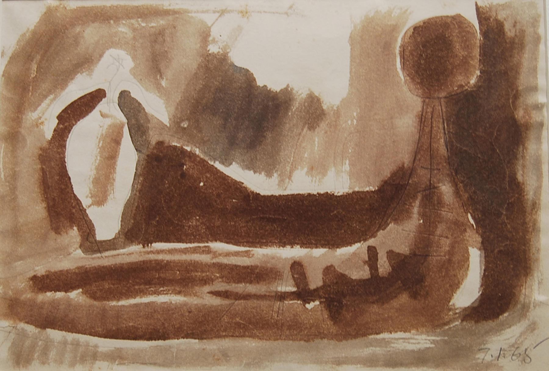 """Reclining Woman, Watercolor, Brown by Indian Padma Bhushan Awardee """"In Stock"""""""