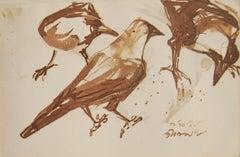 Crows ,Indian diasphora, Sepia, Watercolour, Rare Collectible, Old Bengal Artist