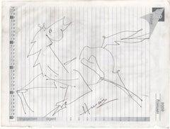 Horse,Ink on paper,M.F. Hussain Drawing, Padma Shri, Padma Bhushan awardee