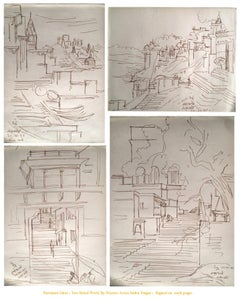 Beneras :Steps to the Temple, Inkdrawing, inspired by Bengal Artist NandalalBose