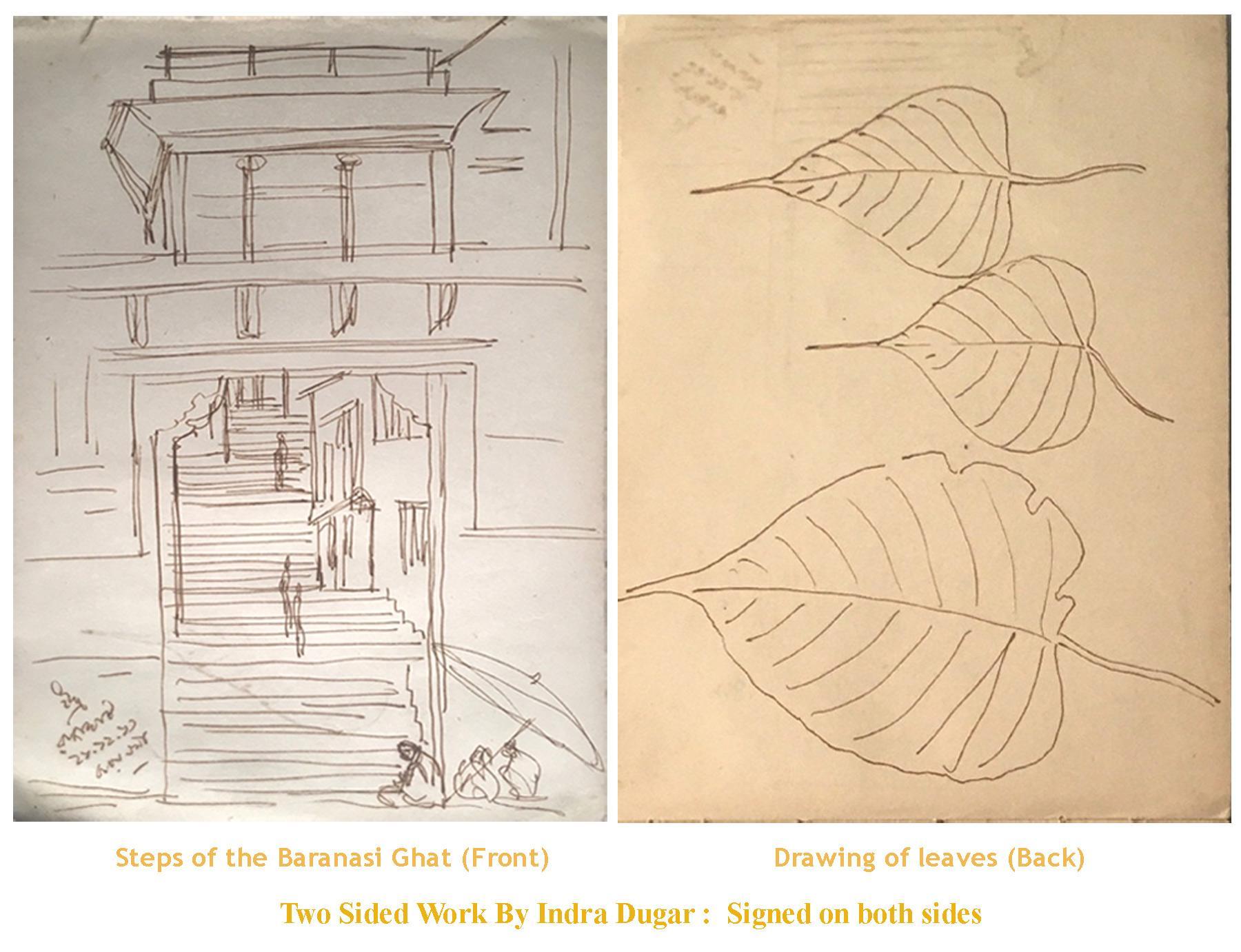 BaranasiGhat, Ink on paper by Indra Dugar,inspired by Master Artist NandalalBose