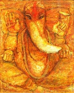 Ganesha, Hindu God, Mythology, acrylic in bright red, yellow by Artist Arup Das