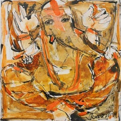 Ganesha, God of good Fortune,Mythology,acrylic in red, brown, yellow by Arup Das