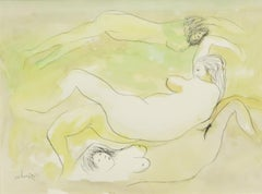 "Nude painting, Woman Bathing, Watercolor on paper, Green, Black, Brown""In Stock"""