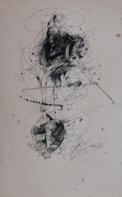 Rare Early Drawing II, Nude, Figurative, Pen & Ink on paper by Bengal Artist