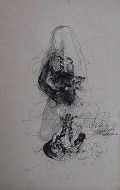 Rare Drawing, Woman with horse, Erotic, Figurative ink , by Padmashree Sunil Das