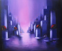 """Holy Banaras 1, Religious, Holy Dip in Ganga's Ghat, Temples, Acrylic """"In Stock"""""""