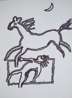"Running Horse, Animal Drawing, Ink on paper by Master Indian Artist ""In Stock"""