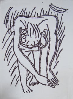 "Nude Drawing, Ink on paper, Black & White by Modern Indian Artist ""In Stock"""