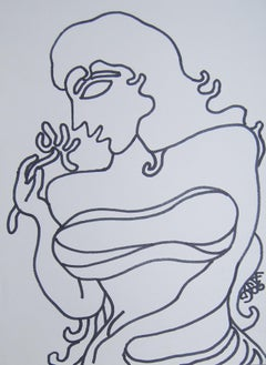 "Lady with Flower, Fish shaped Eyes, Long Hair, Ink on paper ""In Stock"""