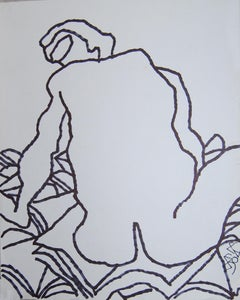 "Nude Drawing, Large Fish shaped Eyes, Ink on paper by Master Artist ""In Stock"""