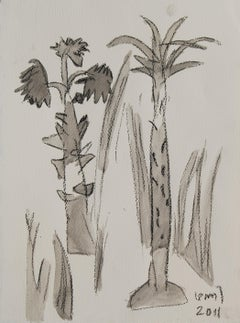 """Palm Grooves of South India,Wash on  Paper  Grey White Brown By KG S. """"In Stock"""""""