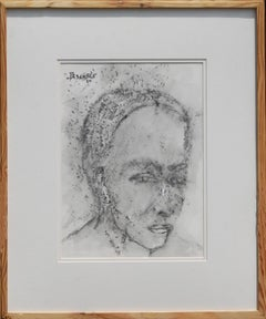 """Face I, Painting, Chinese Ink, Portrait of Man by PadmaBhushan Artist """"In Stock"""""""