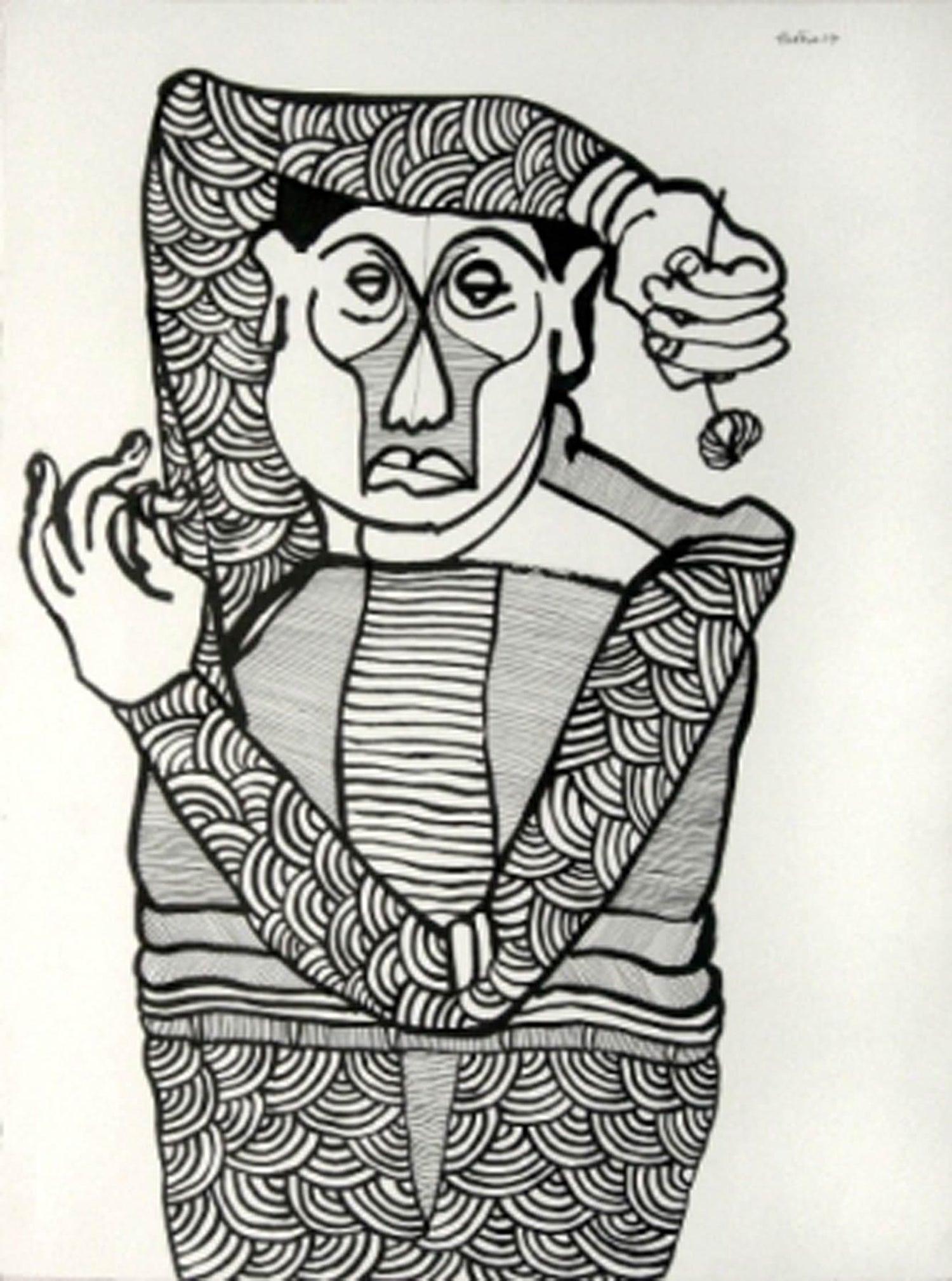 Partha pratim deb funiculli drawing ink on paper black