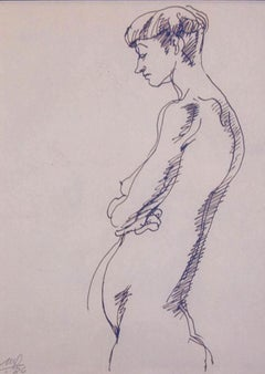 "Standing Woman, Nude Drawing, Ink on paper By Artist Mehlli Gobhai ""In Stock"""