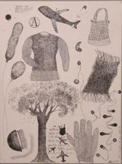"""Drawing, Brush, Ink on paper, Black,White by leading Indian Artist """"In Stock"""""""