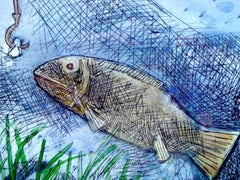 "Fish, Mixed Media in Blue, Green, influenced by Abanindranath Tagore ""In Stock"""