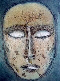 "Face, Mixed Media, Blue, Black, inflenced by Abanindranath Tagore""In Stock"""